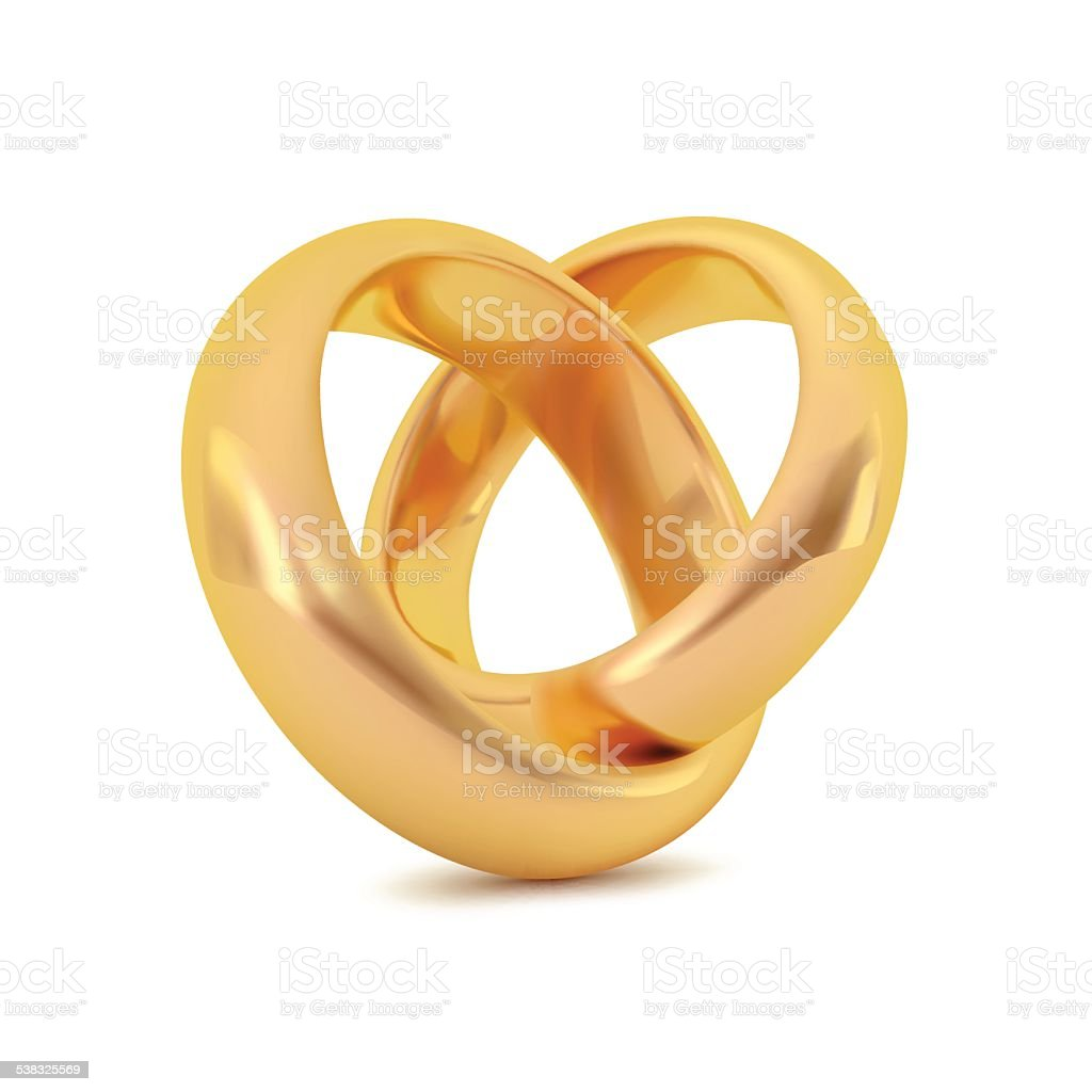 Realistic golden couple ring, Vector object vector art illustration