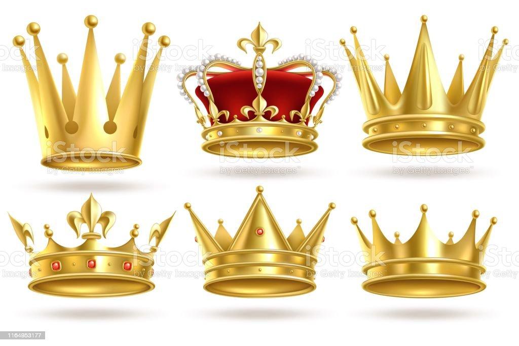 Couronnes d'or réalistes. Roi, prince et reine couronne d'or et diadème décoration héraldique royale. Signes de vecteur isolés de monarque 3d - clipart vectoriel de Armoiries libre de droits