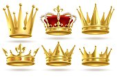 Realistic golden crowns. King, prince and queen gold crown and diadem royal heraldic decoration. Monarch 3d isolated vector signs