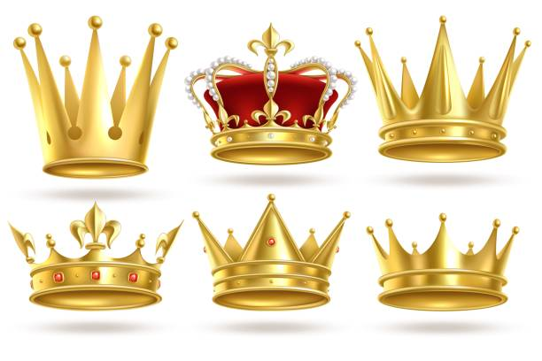 Realistic golden crowns. King, prince and queen gold crown and diadem royal heraldic decoration. Monarch 3d isolated vector signs Realistic golden crowns. King, prince and queen gold crown and diadem royal heraldic decoration. Monarch 3d isolated vector coronation royalty signs crown headwear stock illustrations