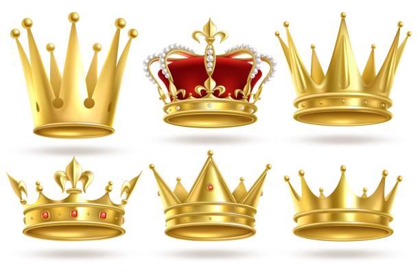 逼真的金冠。國王、王子和王后金冠和戴德姆皇家裝飾。君主 3d 隔離向量標誌 - 皇冠 頭飾 幅插畫檔、美工圖案、卡通及圖標