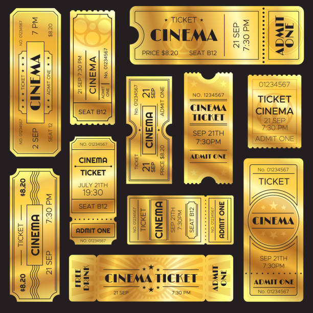 realistic golden show ticket. old premium cinema entrance tickets. gold admission to movie theater or amusement shows vector set - ticket stock illustrations