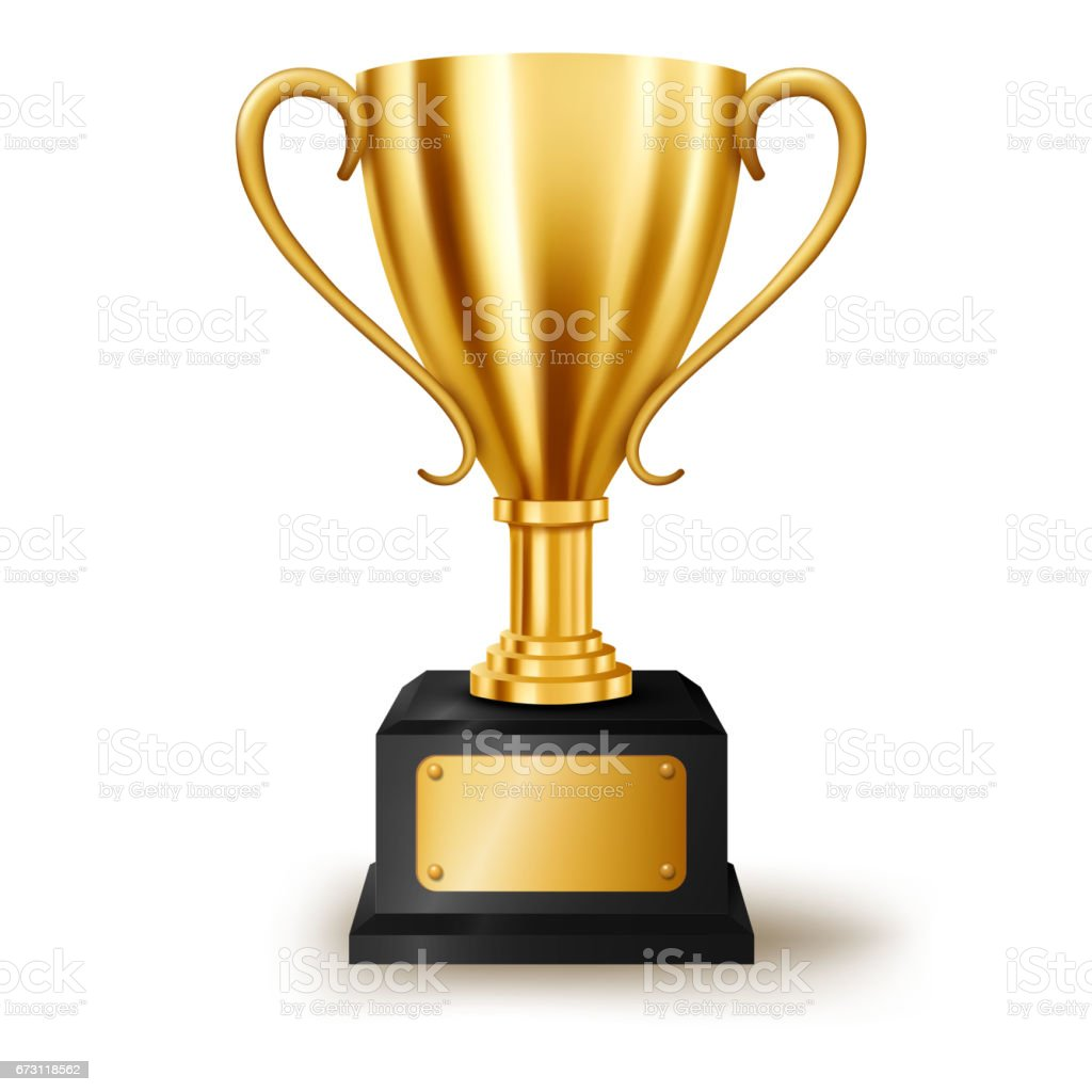 Realistic Golden Trophy with text space, Vector Illustration vector art illustration