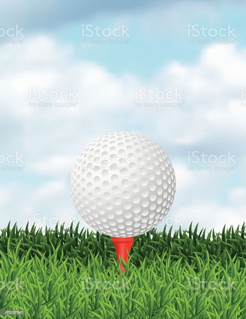 Realistic Golf Ball In The Grass With Copy Space vector art illustration