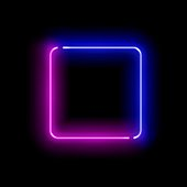 istock Realistic gradient neon square frame. Pink and blue colored blank template isolated on black empty grunge background. Geometric glow outline shape or laser glowing lines. Vector shining object. 1248755215