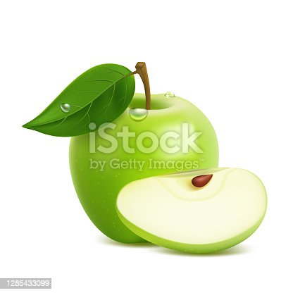 istock Realistic green apple with leaf and drops 1285433099