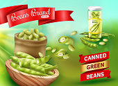 Realistic advertising poster with natural canned green beans vector illustration