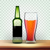 istock Realistic Green Bottle And Glass With Beer Vector 1145191154