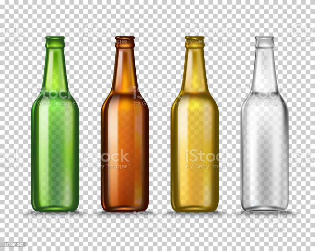 Realista verde, marrón, amarillo y blanco vaciar botellas de cerveza de vidrio aislados en un fondo transparente. Ilustración de vector. Burlarse de la plantilla en blanco para embalaje anuncio del producto. - ilustración de arte vectorial