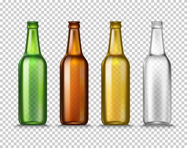 Realistic Green, brown, yellow and white empty glass beer bottles isolated on a transparent background. Vector illustration. Mock up template blank for product packing advertisement. Realistic Green, brown, yellow and white empty glass beer bottles isolated on a transparent background. Template blank for product packing advertisement. bottle stock illustrations