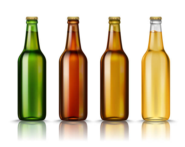 Realistic Green, brown, yellow and white glass beer bottles with drink isolated on a white background. Vector illustration. Mock up template blank for product packing advertisement. vector art illustration