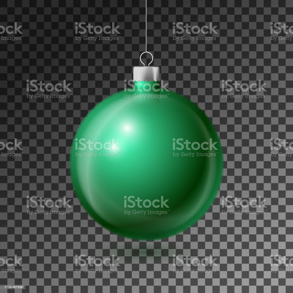 Realistic Green Christmas ball with silver ribbon, isolated on...