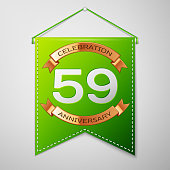 Realistic Green pennant with inscription Fifty nine 59 Years Anniversary Celebration Design on grey background. Golden ribbon. Colorful template elements for your birthday party. Vector illustration