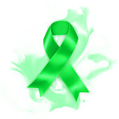 Realistic Green ribbon. Scoliosis, Mental health and other awareness symbol.