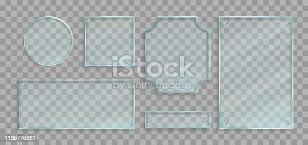 153984410istockphoto Realistic green transparent glass plates with bolts and shadows set. Vector design elements. 1135775361