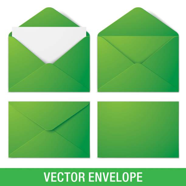Realistische grüne Vektor Umschlag Mockups. – Vektorgrafik