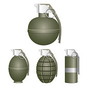 Beautiful vector design illustration of realistic grenade isolated on white background