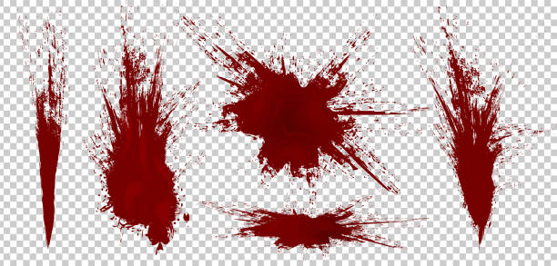 Realistic Halloween blood isolated on transparent background. Blood Drops and splashes. Can be used on halloween design, medical, healthcare, flyers, banners or web. Vector blood illustration. EPS 10. Realistic Halloween blood isolated on transparent background. Blood Drops and splashes. Can be used on halloween design, medical, healthcare, flyers, banners or web. Vector blood illustration. EPS 10. splattered stock illustrations