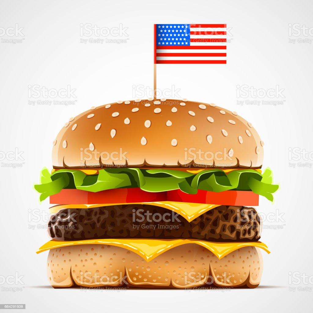 リアルなハンバーグ チーズ レタスとトマトアメリカの食べ物のシンボル