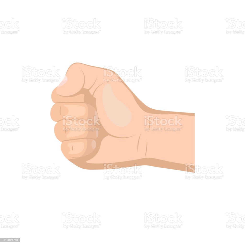 Realistic hand with clenched fist vector art illustration