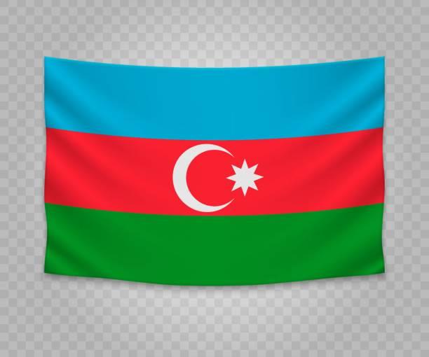 Realistic hanging flag Realistic hanging flag of Azerbaijan. Empty  fabric banner illustration design. azerbaijan stock illustrations