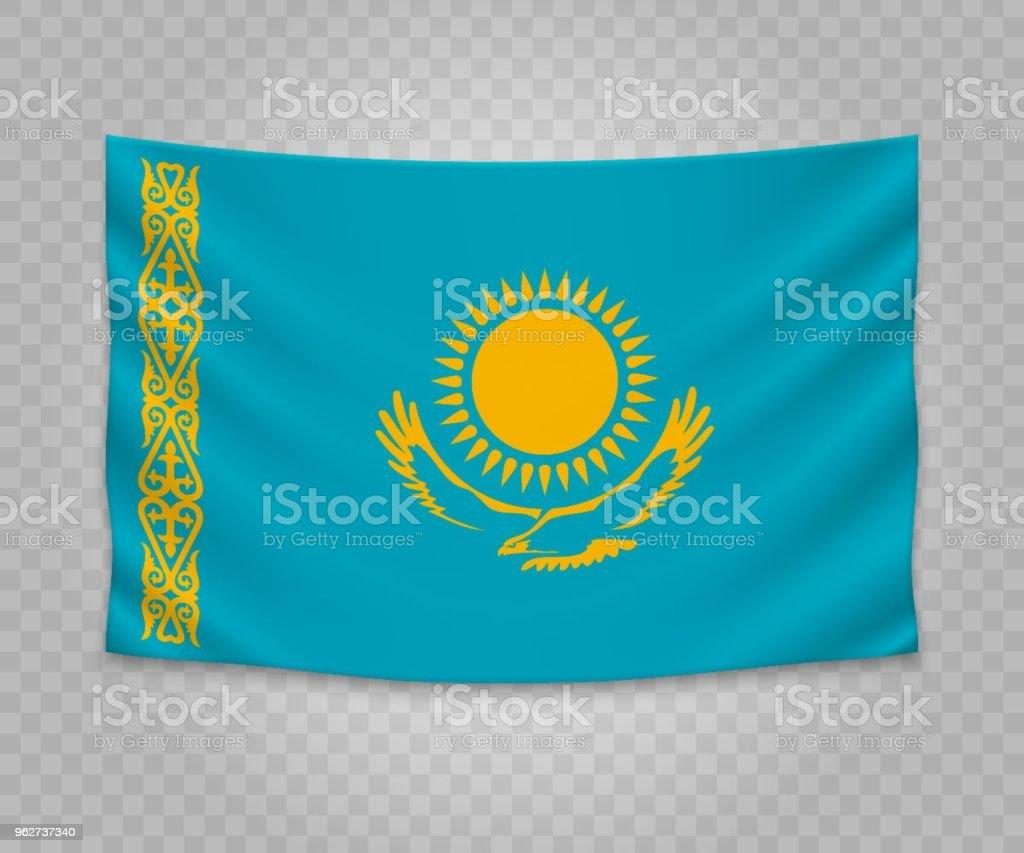 Bandeira de suspensão realista - Vetor de Bandeira royalty-free