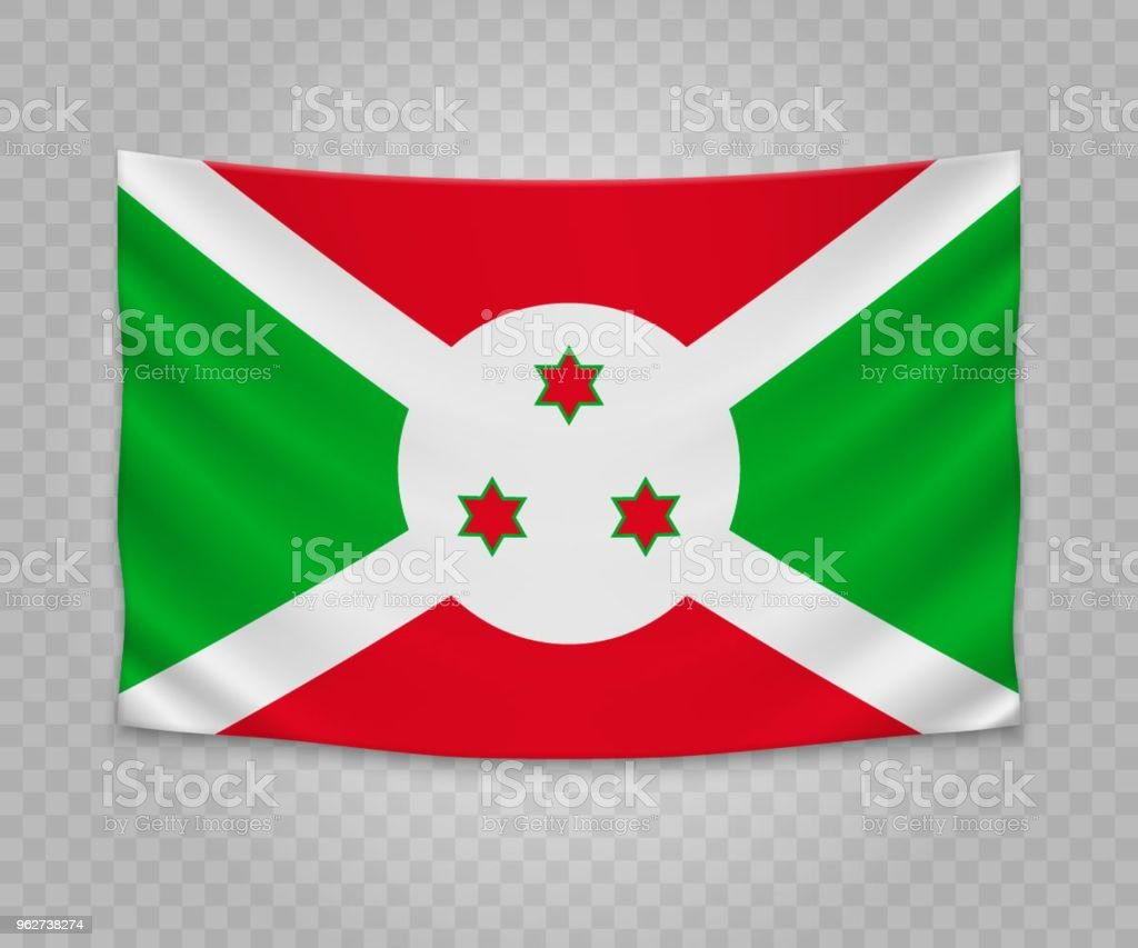 Realistic hanging flag - arte vettoriale royalty-free di Bandiera