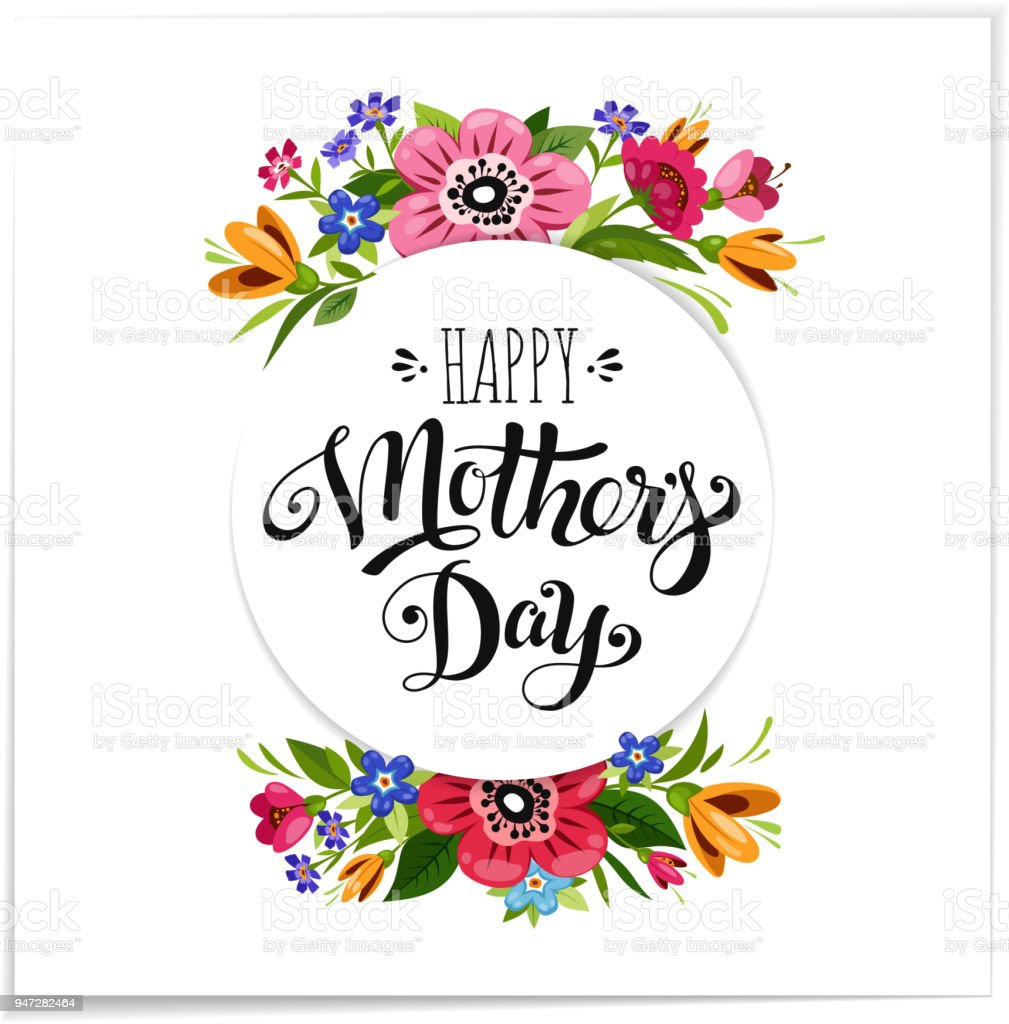 Realistic happy mothers day greeting card with flowers elegant hand realistic happy mothers day greeting card with flowers elegant hand drawn lettering happy mothers day m4hsunfo