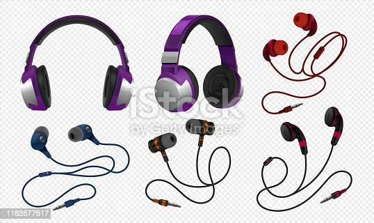 Realistic headset. Wireless gaming earphones with mic and and corded studio monitor headphones for music. Vector isolated headset on transparent background set