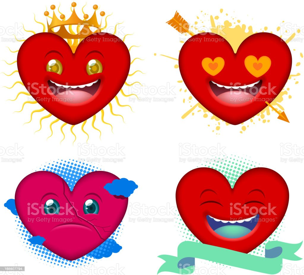 Realistic heart set happy in love sad laughing royalty-free stock vector art