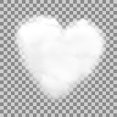 Realistic heart shaped white cloud with transparency, vector illustration