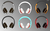 Realistic high quality modern headset wired or wireless. Digital dj headphones vector illustration. Electronic studio speakers Commercial ads mockup.