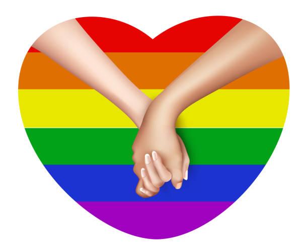 ilustrações, clipart, desenhos animados e ícones de realista, segurando as mãos e o vetor de coração - casais do mesmo sexo