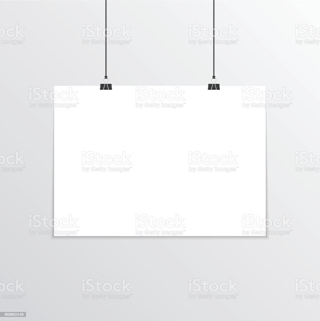 Realistic horizontal poster mockup A4. vector art illustration