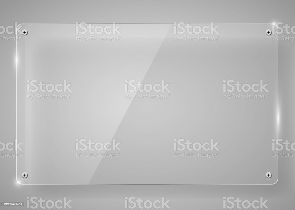 Realistic horizontal transparent glass frame with shadow. Modern background. vector art illustration