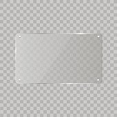 Realistic horizontal transparent glass frame with shadow on transparent background.   Vector illustration