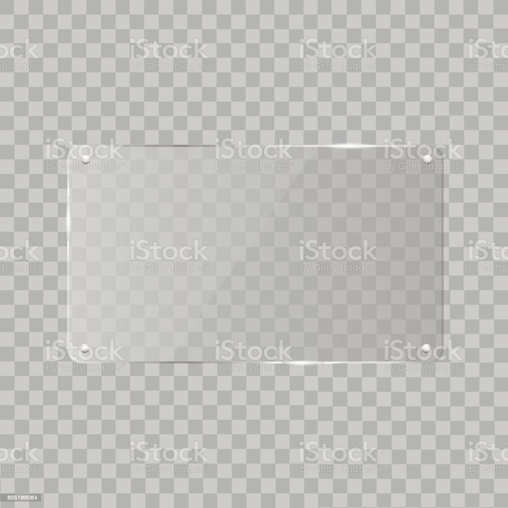 Realistic horizontal transparent glass frame with shadow on transparent background.   Vector illustration vector art illustration