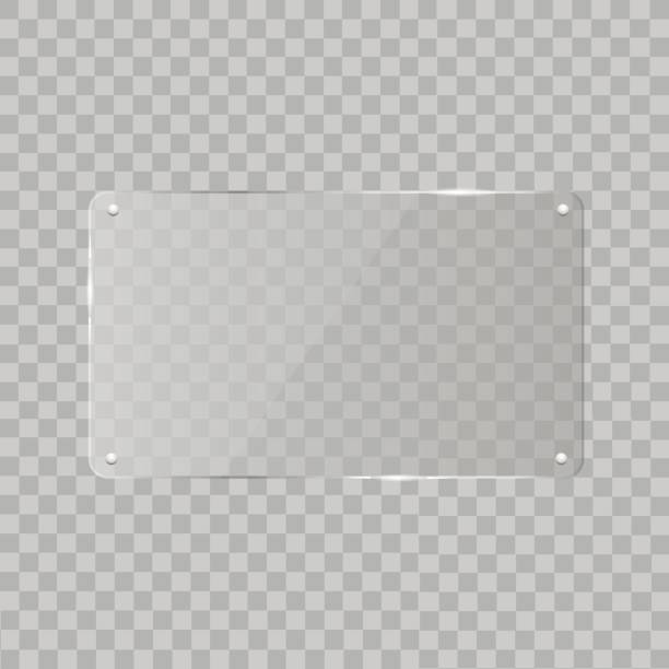 realistic horizontal transparent glass frame with shadow on transparent background.   vector illustration - acrylic painting stock illustrations