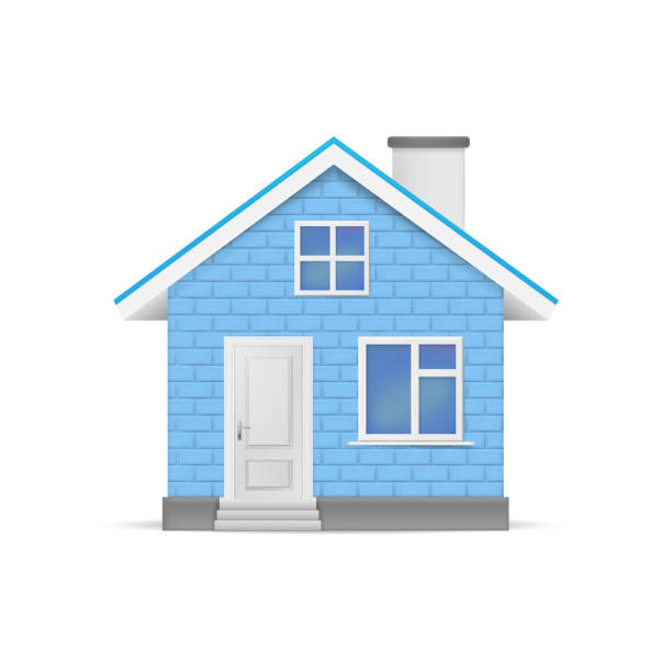 3D realistic house isolated on white background. Vector illustration. 3D realistic house isolated on white background. Vector illustration. Esp 10. blue clipart stock illustrations
