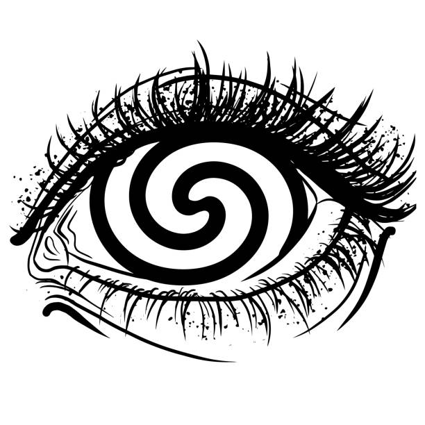 Realistic human eye with spiral hypnotic iris vector graphic illustration