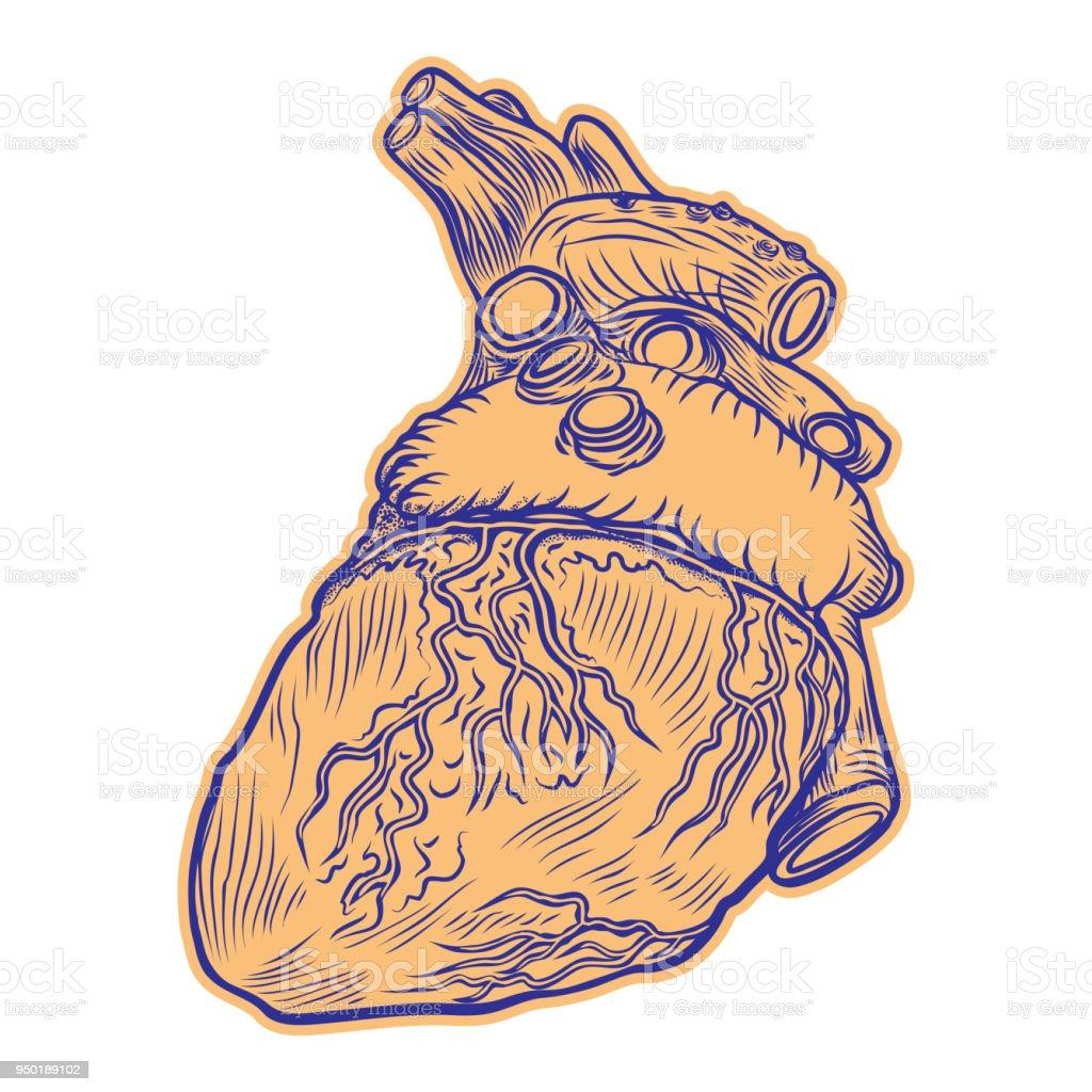 Realistische Menschliche Herz Zeichnen Tattookunst Dot ...