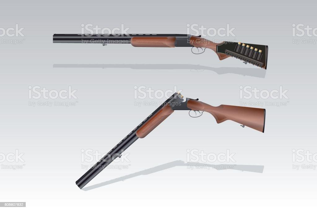 Ilustración de Con Rifle De Caza Realistas Con Una Correa De ...