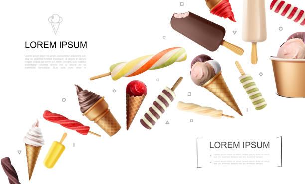 ilustraciones, imágenes clip art, dibujos animados e iconos de stock de concepto de helado realista - ice cream cone