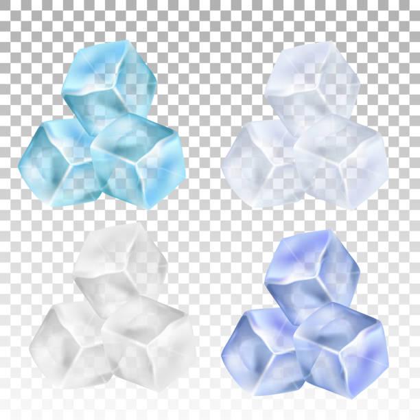 Realistische Eiswürfel auf einem transparenten Hintergrund. Vektor-illustration – Vektorgrafik