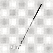 Realistic icon of classic golf club isolated on transparent background. Design template closeup in vector