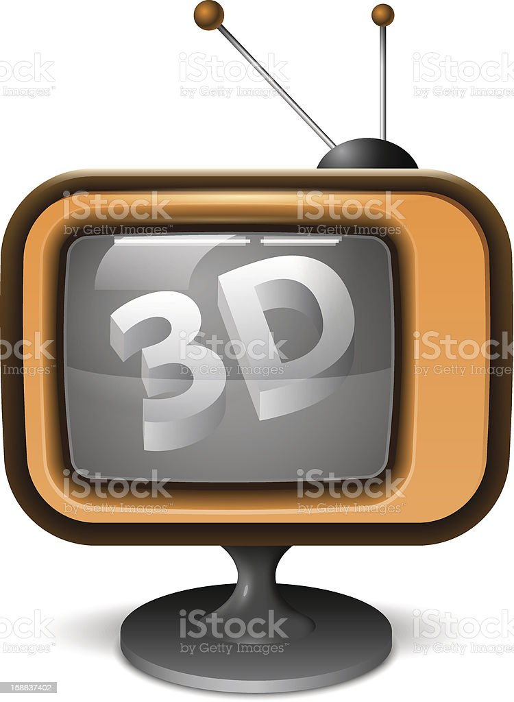 3D TV Realistic Icon royalty-free stock vector art