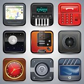 A set of realistic application vector icons