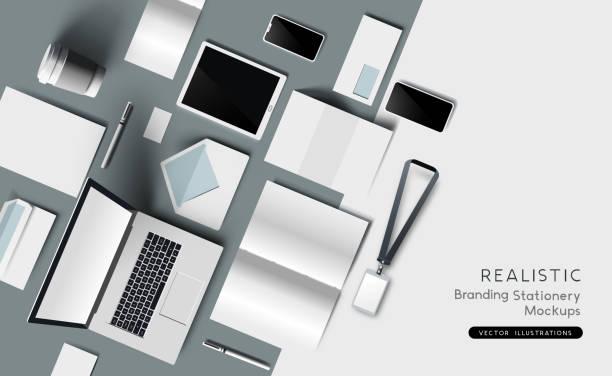 Realistische Identität und Branding Stationery Mockup – Vektorgrafik