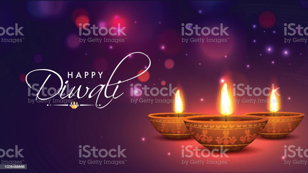 Realistic, Illuminated Oil Lamps on shiny bokeh background for Indian Festival of Diwali celebration. vector art illustration