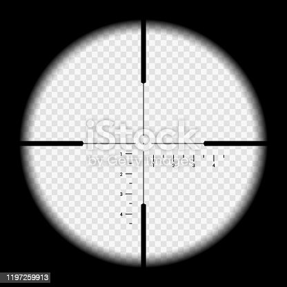 istock Realistic illustration looking through sniper crosshair with measuring numbers and markers. Optical sight rifle on transparent background - vector 1197259913